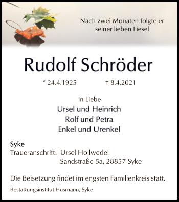 Traueranzeige von Rudolf Schröder von SYK