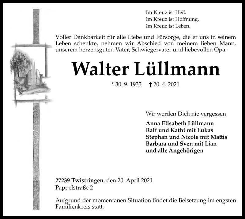 Traueranzeige für Walter Lüllmann vom 23.04.2021 aus SYK