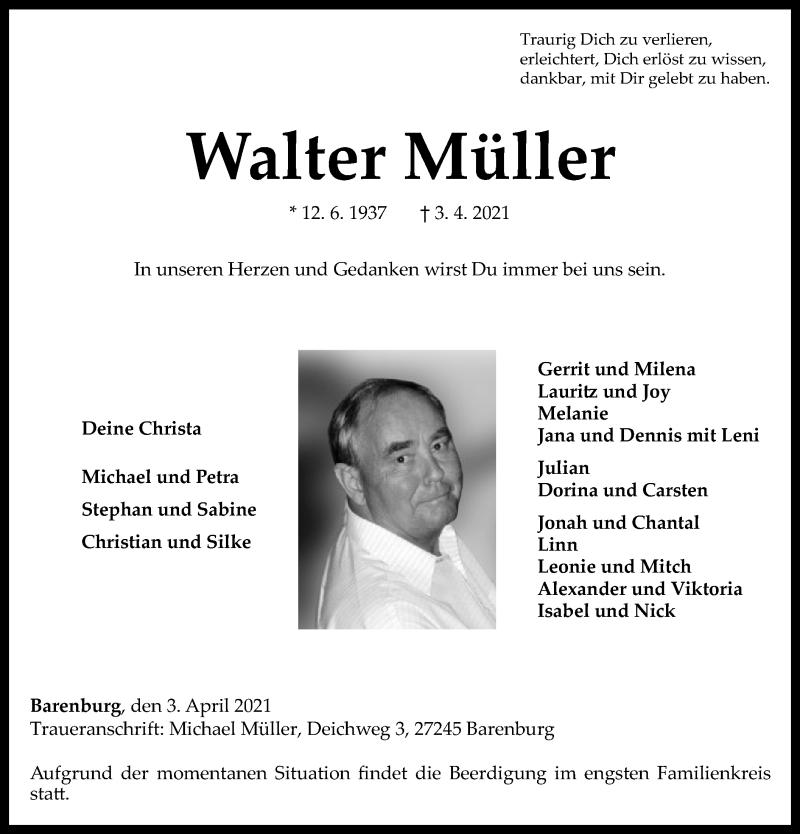 Traueranzeige für Walter Müller vom 07.04.2021 aus SYK