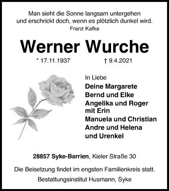 Traueranzeige von Werner Wurche von SYK