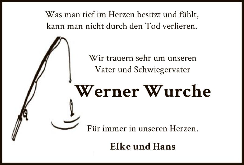 Traueranzeige für Werner Wurche vom 13.04.2021 aus SYK