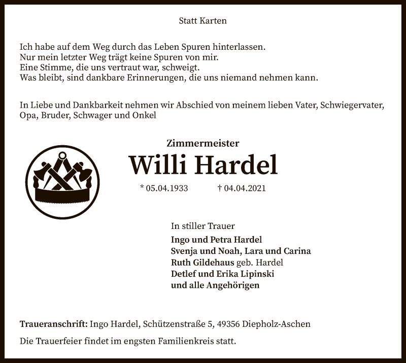 Traueranzeige für Willi Hardel vom 07.04.2021 aus SYK