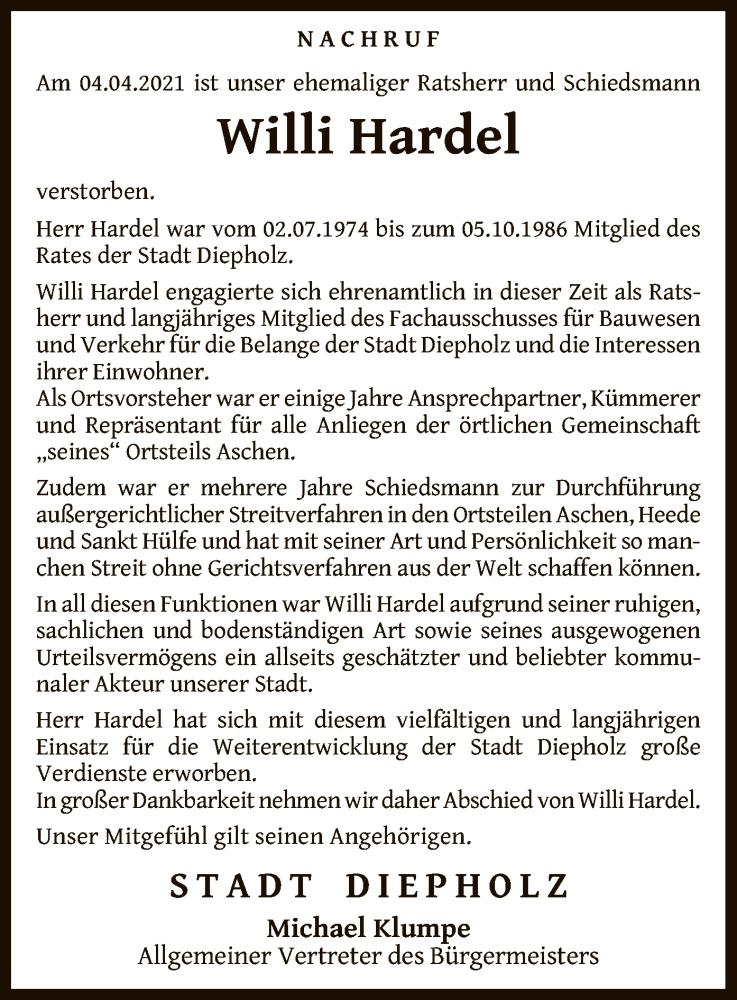 Traueranzeige für Willi Hardel vom 12.04.2021 aus SYK