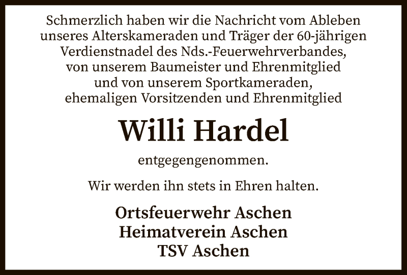 Traueranzeige für Willi Hardel vom 09.04.2021 aus SYK