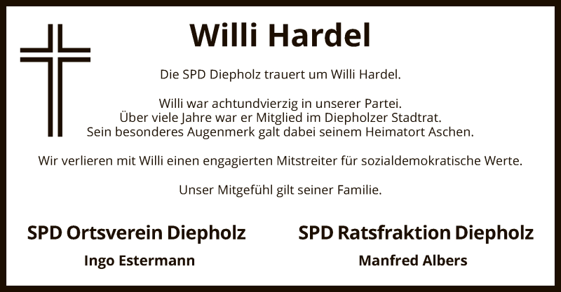 Traueranzeige für Willi Hardel vom 10.04.2021 aus SYK