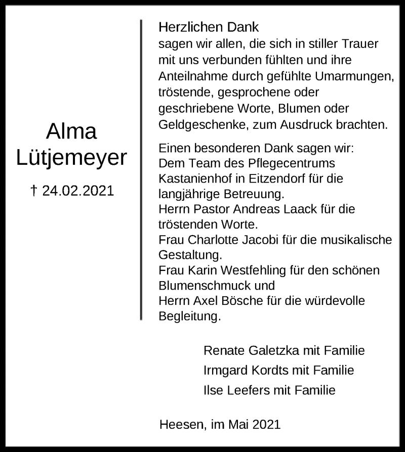 Traueranzeige für Alma Lütjemeyer vom 08.05.2021 aus SYK