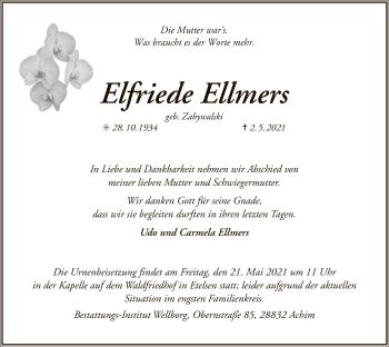 Traueranzeige von Elfriede Ellmers von SYK