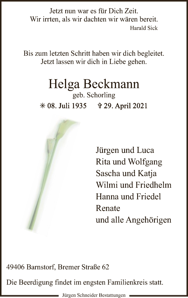 Traueranzeige für Helga Beckmann vom 04.05.2021 aus SYK