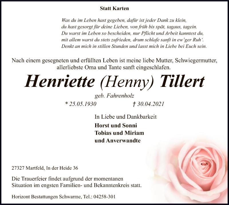 Traueranzeige für Henriette  Tillert vom 04.05.2021 aus SYK