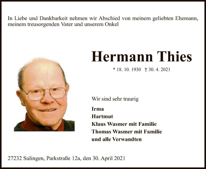 Traueranzeige für Hermann Thies vom 04.05.2021 aus SYK