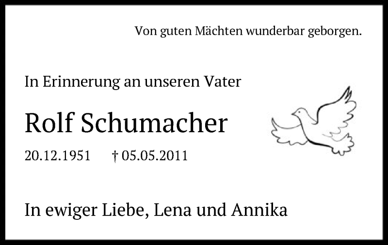 Traueranzeige für Rolf Schumacher vom 05.05.2021 aus SYK