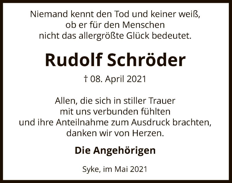 Traueranzeige für Rudolf Schröder vom 06.05.2021 aus SYK