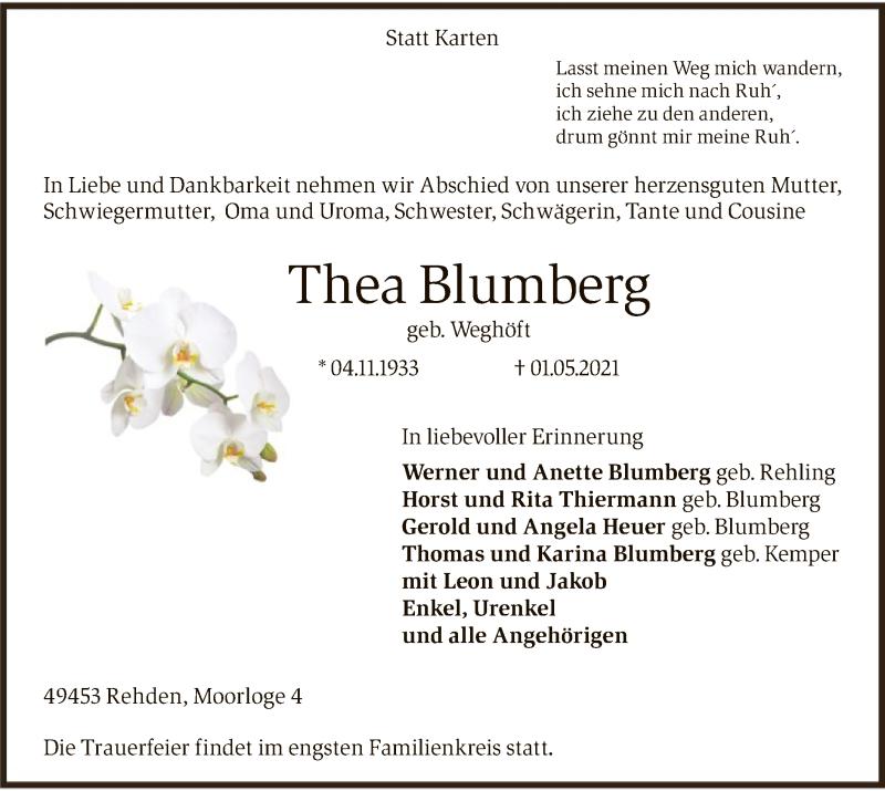 Traueranzeige für Thea Blumberg vom 04.05.2021 aus SYK