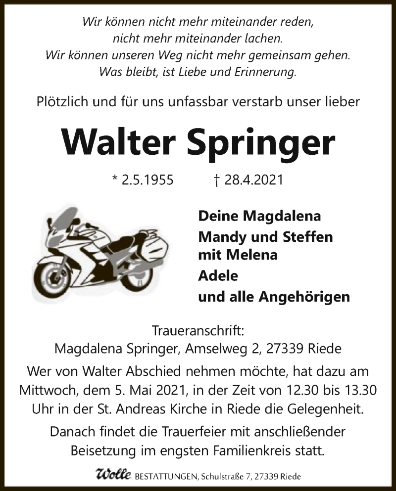 Traueranzeige für Walter Springer vom 03.05.2021 aus SYK