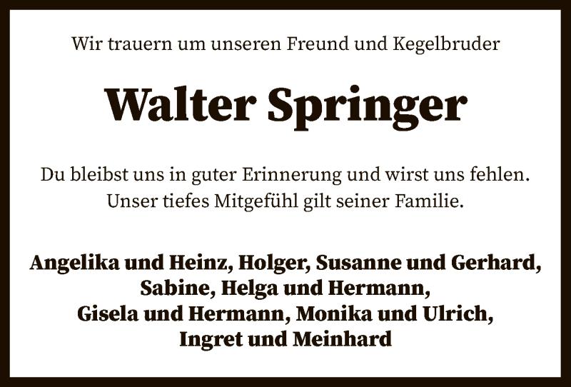Traueranzeige für Walter Springer vom 04.05.2021 aus SYK