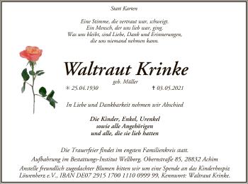 Traueranzeige von Waltraut Krinke von SYK