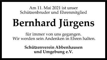 Traueranzeige von Bernhard Jürgens von SYK