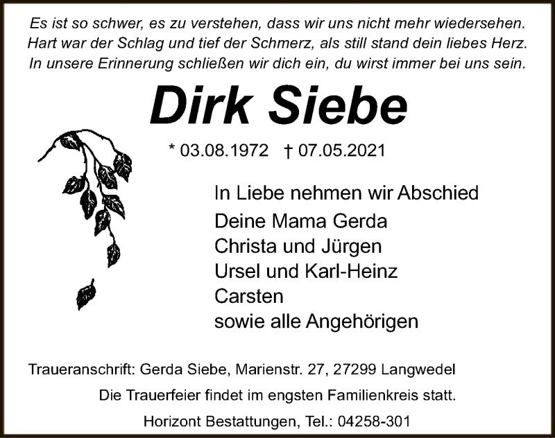 Traueranzeige für Dirk Siebe vom 22.05.2021 aus SYK
