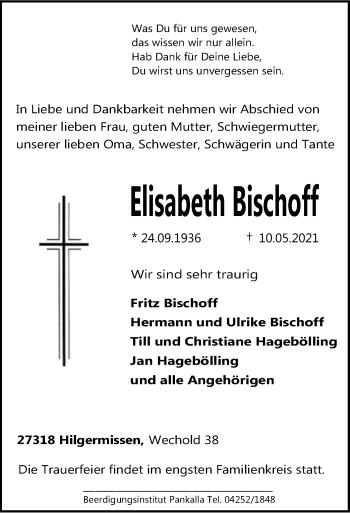 Traueranzeige von Elisabeth Bischoff von SYK