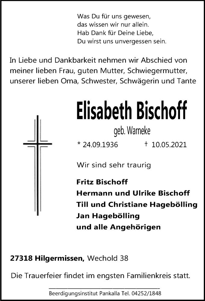 Traueranzeige für Elisabeth Bischoff vom 14.05.2021 aus SYK