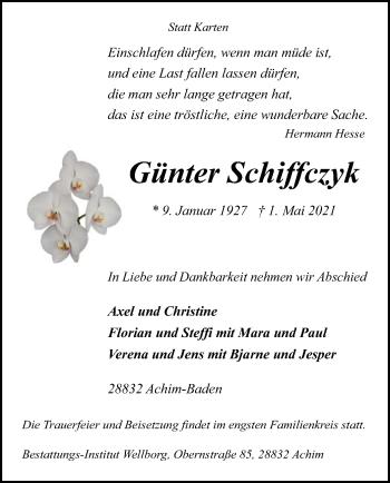 Traueranzeige von Günter Schiffczyk von SYK