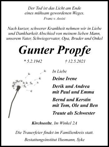 Traueranzeige von Gunter Propfe von SYK