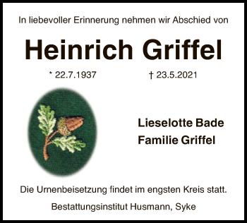 Traueranzeige von Heinrich Griffel von SYK