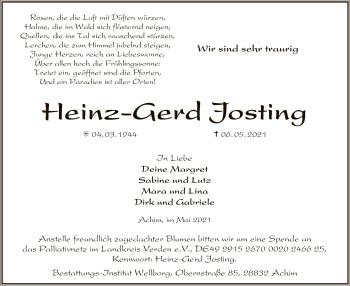 Traueranzeige von Heinz-Gerd Josting von SYK