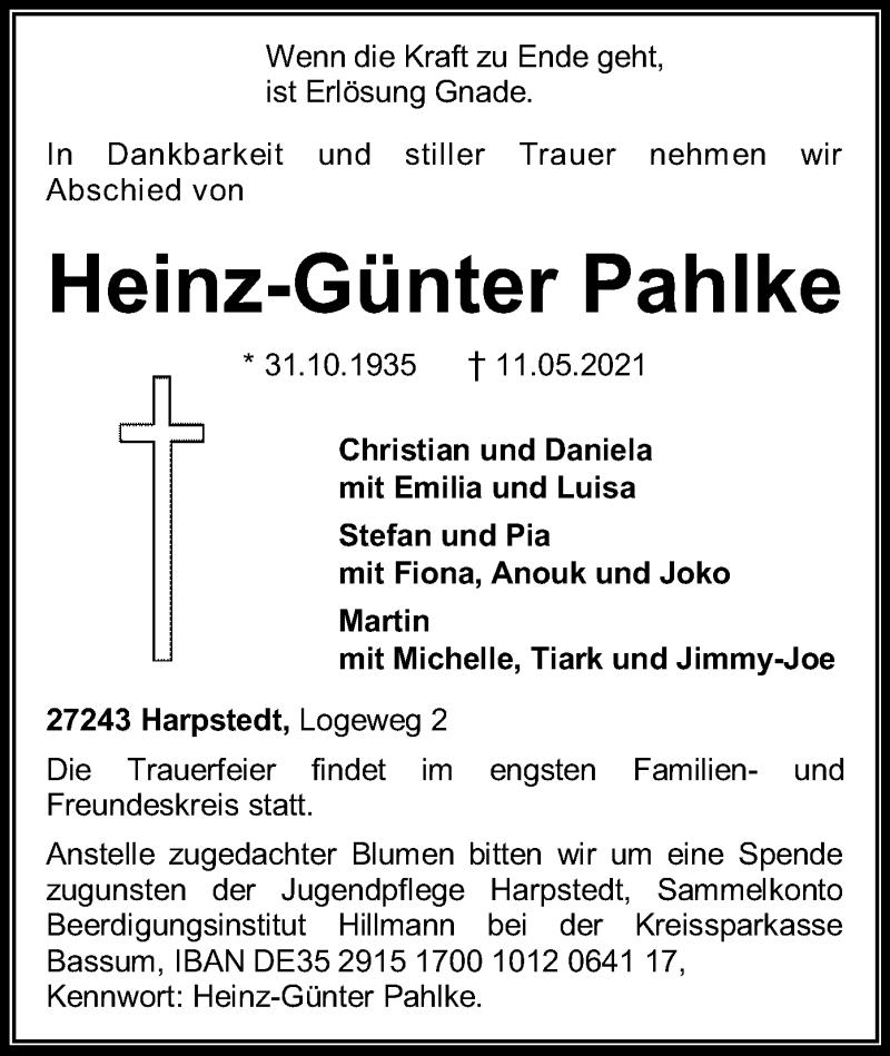 Traueranzeige für Heinz-Günter Pahlke vom 14.05.2021 aus SYK