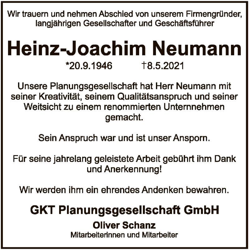 Traueranzeige für Heinz-Joachim Neumann vom 12.05.2021 aus SYK