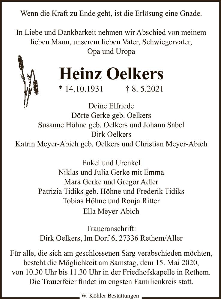 Traueranzeige für Heinz Oelkers vom 12.05.2021 aus SYK