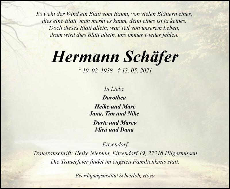 Traueranzeige für Hermann Schäfer vom 22.05.2021 aus SYK