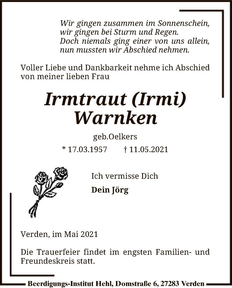 Traueranzeige für Irmtraut Warnken vom 15.05.2021 aus SYK