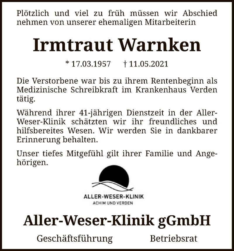 Traueranzeige für Irmtraut Warnken vom 20.05.2021 aus SYK