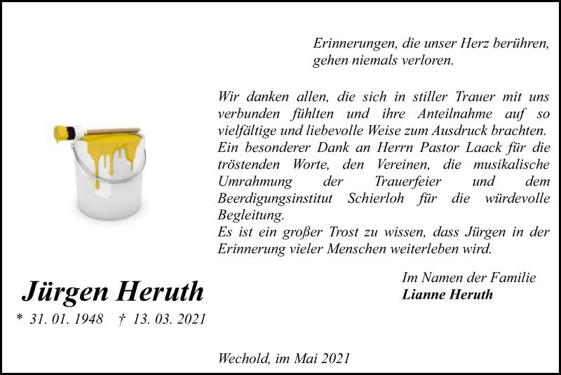 Traueranzeige für Jürgen Heruth vom 29.05.2021 aus SYK