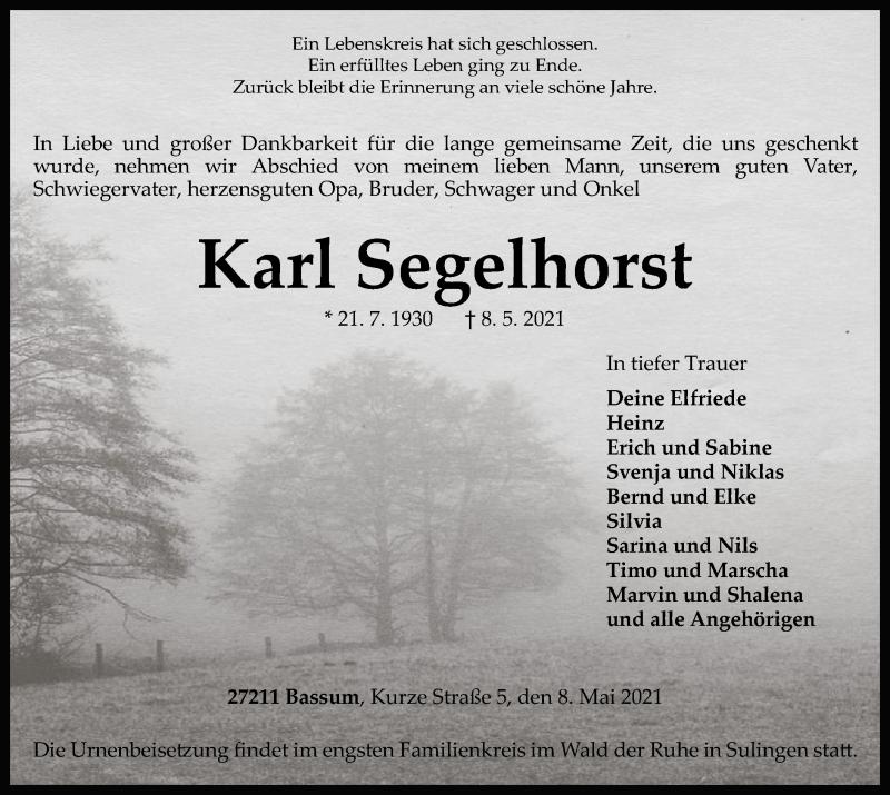 Traueranzeige für Karl Segelhorst vom 14.05.2021 aus SYK