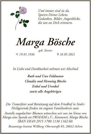 Traueranzeige von Marga Bösche von SYK