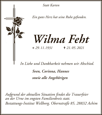 Traueranzeige von Wilma Feht von SYK