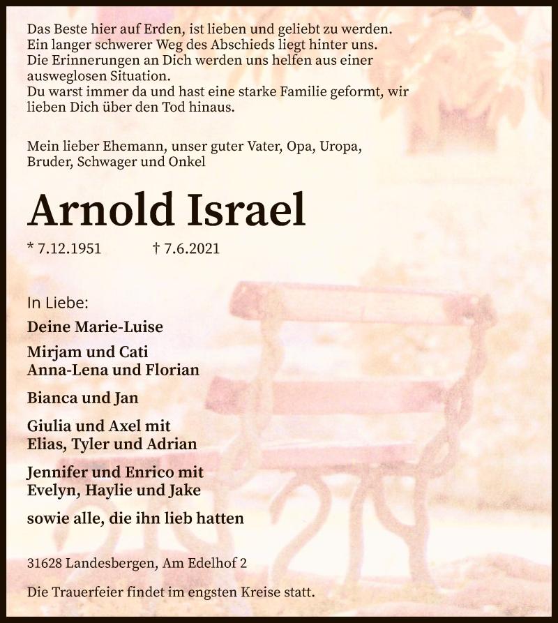Traueranzeige für Arnold Israel vom 10.06.2021 aus SYK