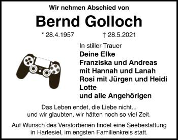 Traueranzeige von Bernd Golloch von SYK