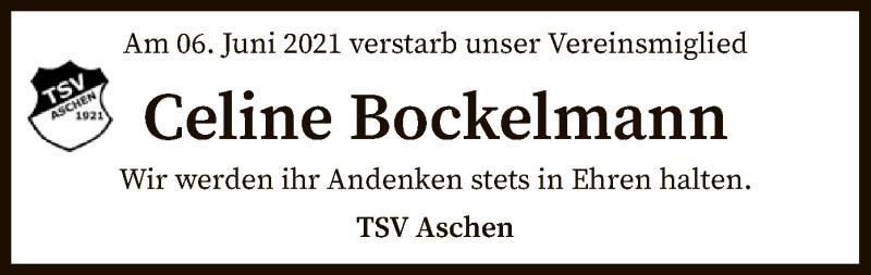 Traueranzeige für Celine Bockelmann vom 12.06.2021 aus SYK