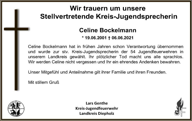Traueranzeige für Celine Bockelmann vom 15.06.2021 aus SYK