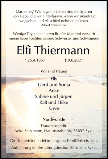 Traueranzeige von Elfi Thiermann von SYK