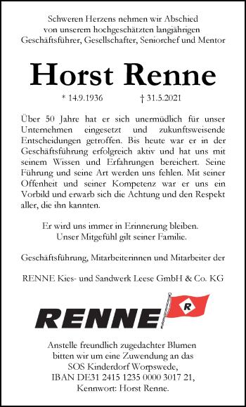 Traueranzeige von Horst Renne von SYK