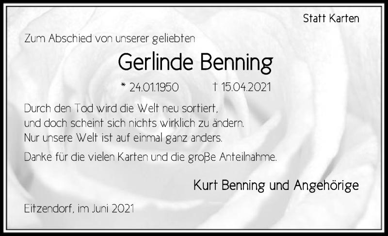Traueranzeige für Gerlinde Benning vom 05.06.2021 aus SYK