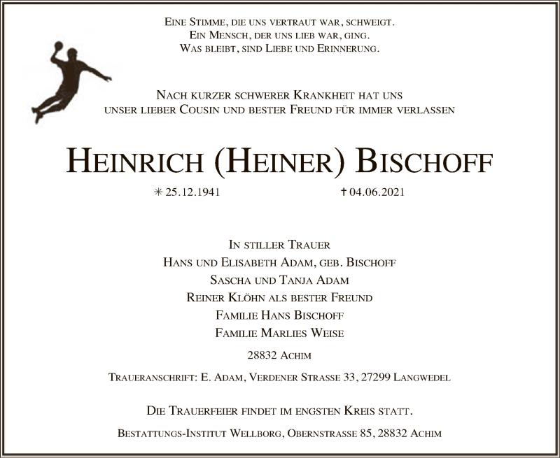 Traueranzeige für Heinrich Bischoff vom 09.06.2021 aus SYK