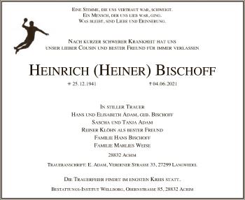 Traueranzeige von Heinrich Bischoff von SYK