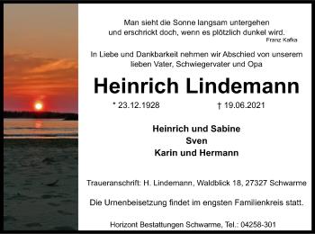 Traueranzeige von Heinrich Lindemann von SYK