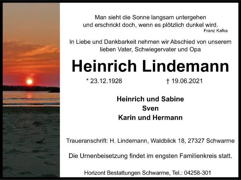 Traueranzeige für Heinrich Lindemann vom 26.06.2021 aus SYK