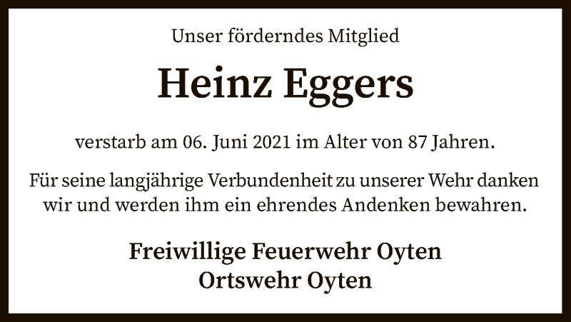 Traueranzeige für Heinz Eggers vom 12.06.2021 aus SYK